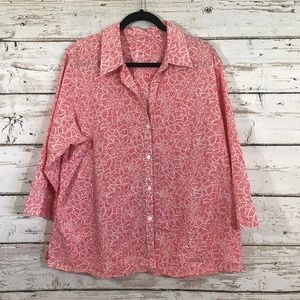 Fox Croft Coral Printed Top Button down